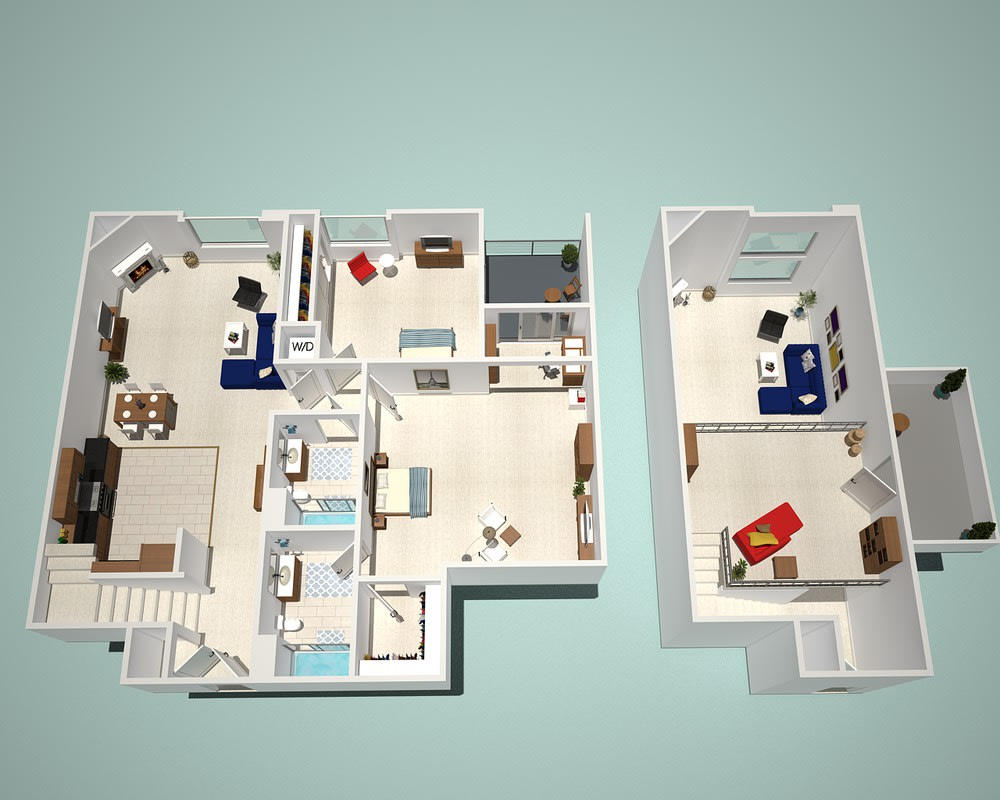 Floor Plan  2 Bed - 2 Bath L1 - Penthouse Floor Plan at The Social, North Hollywood, California