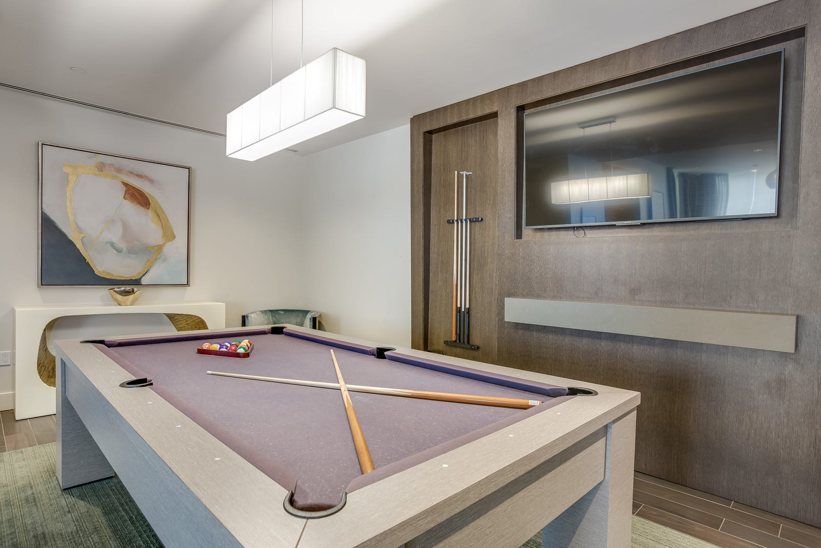 Clubroom with Billiards Table at Amaray Las Olas by Windsor, 215 SE 8th Ave, Fort Lauderdale