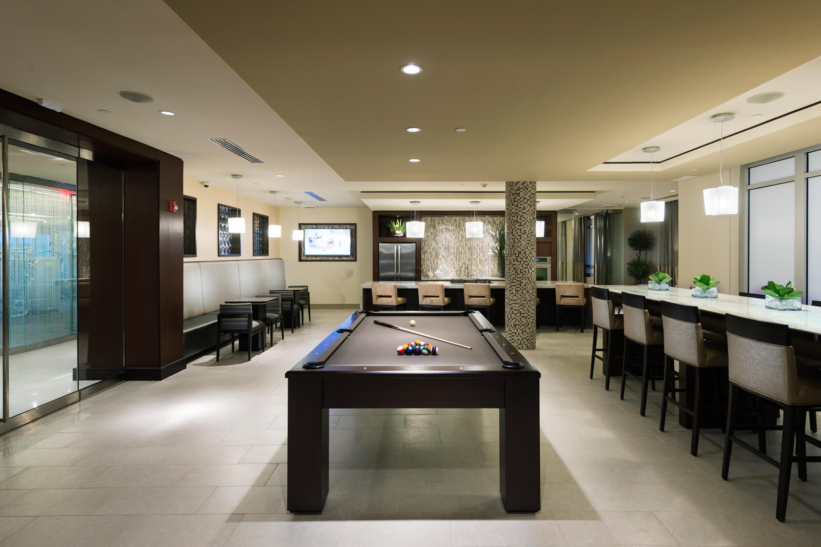 Entertainment Room With Billiards Table at Windsor at Cambridge Park, Cambridge, MA