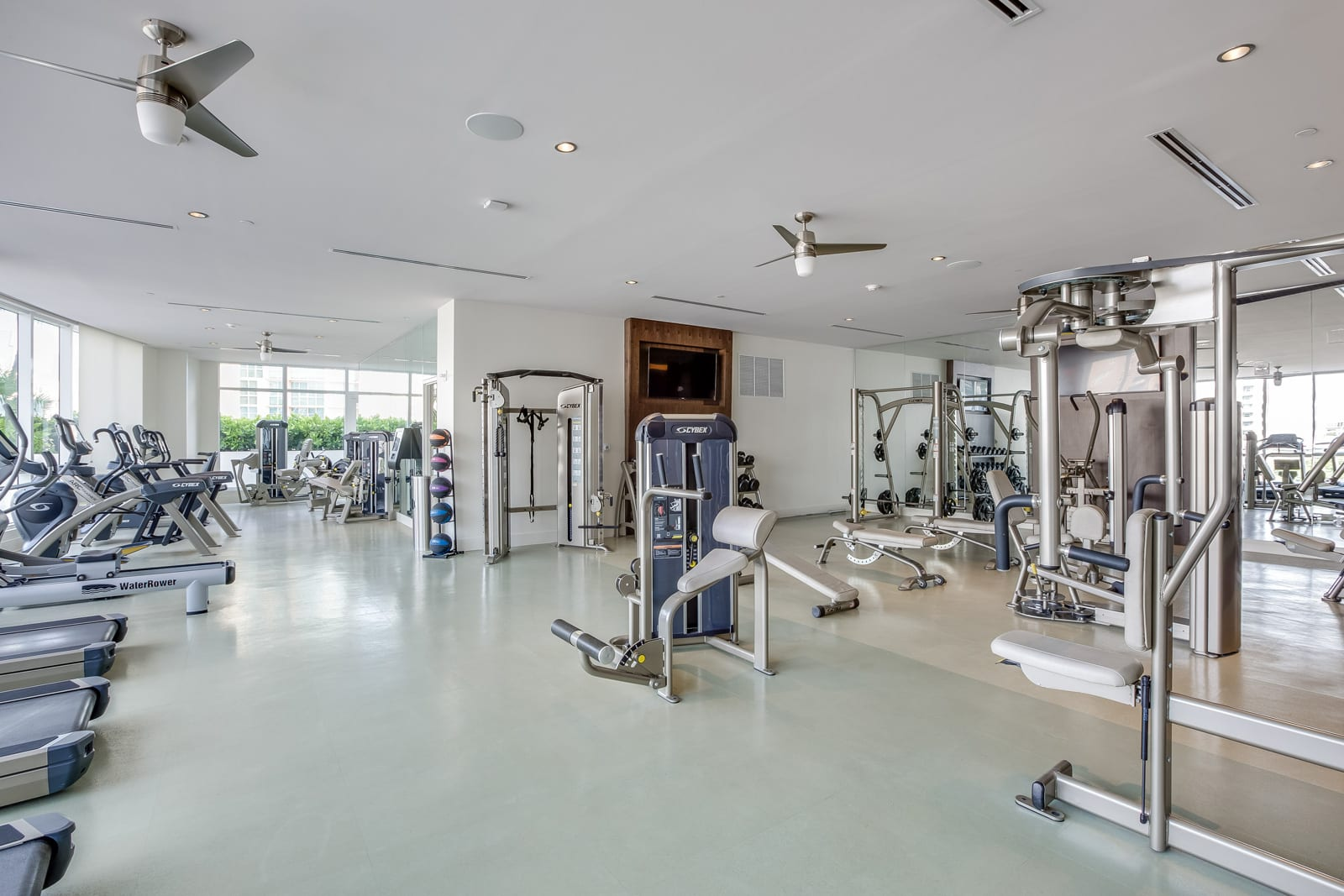 Gym with Weights and Lifting Equipment at Amaray Las Olas by Windsor, 33301, FL