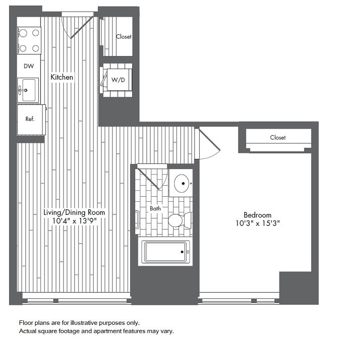 Floor Plan  A2 1 Bed 1 Bath Floor Plan at Waterside Place by Windsor, Massachusetts, 02210, opens a dialog