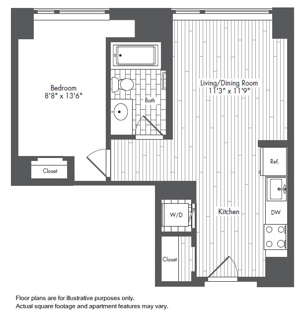 Floor Plan  A3 1 Bed 1 Bath Floor Plan at Waterside Place by Windsor, Boston, MA, 02210, opens a dialog
