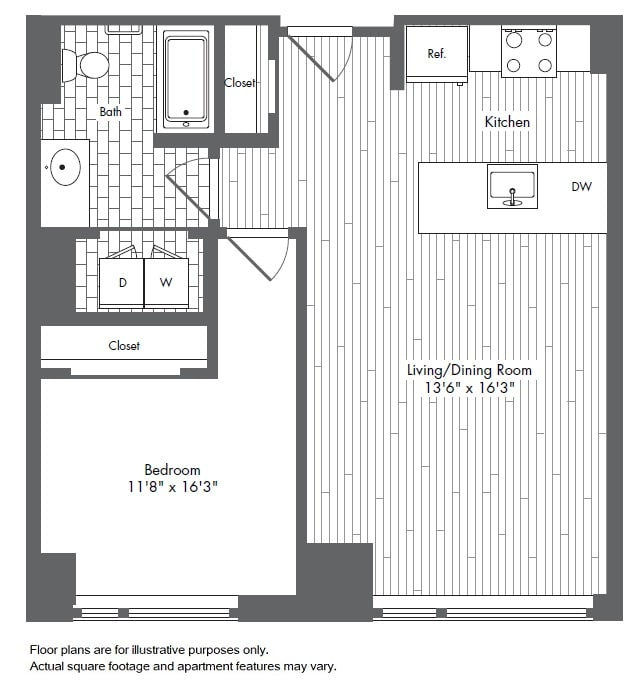 Floor Plan  A5 1 Bed 1 Bath Floor Plan at Waterside Place by Windsor, Boston, Massachusetts, opens a dialog