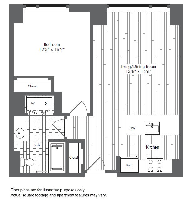 Floor Plan  A6 1 Bed 1 Bath Floor Plan at Waterside Place by Windsor, Boston, opens a dialog