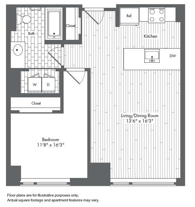 Floor Plan  A7 1 Bed 1 Bath Floor Plan at Waterside Place by Windsor, Massachusetts, opens a dialog