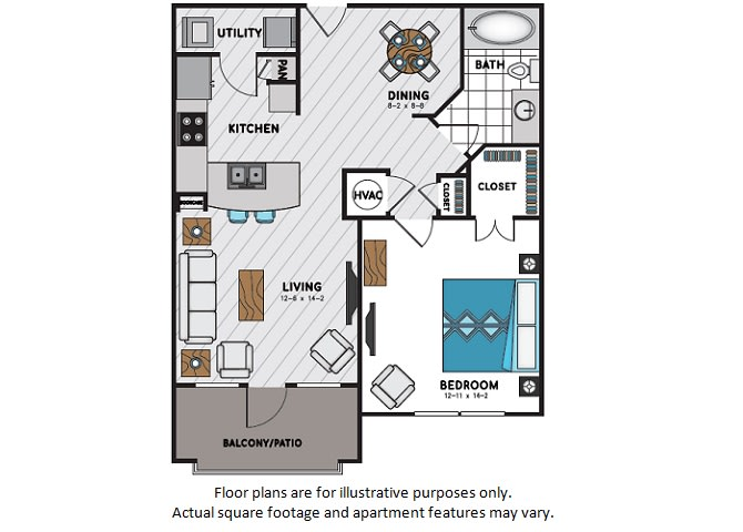 Floor Plan  A7 One Bedroom One Bath Floor Plan at Windsor Chastain, 225 Franklin Rd NE, Atlanta, opens a dialog