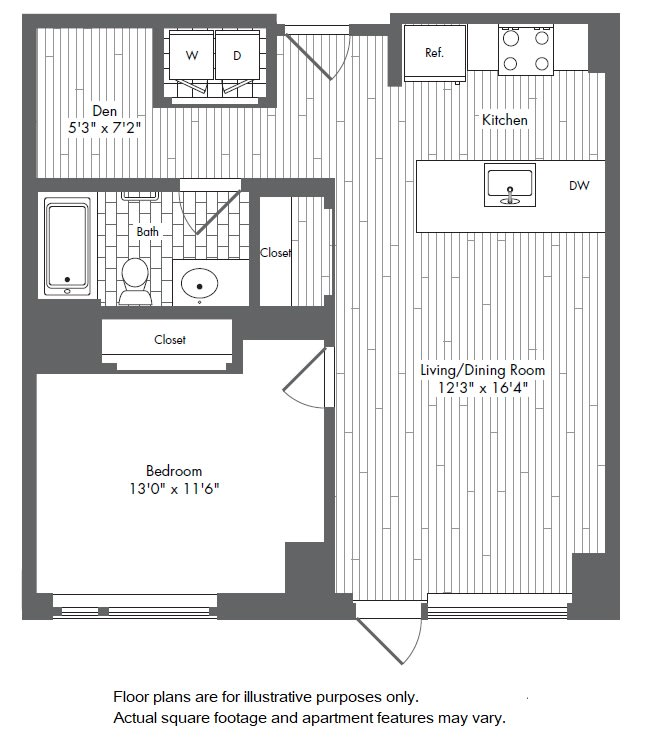 Floor Plan  A8 1 Bed 1 Bath Floor Plan at Waterside Place by Windsor, Boston, Massachusetts, opens a dialog