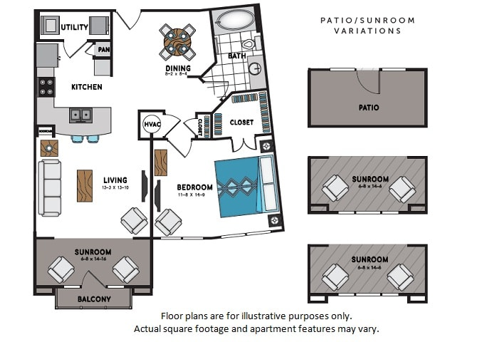 Floor Plan  A9 One Bedroom One Bath Floor Plan at Windsor Chastain, Atlanta, GA, opens a dialog