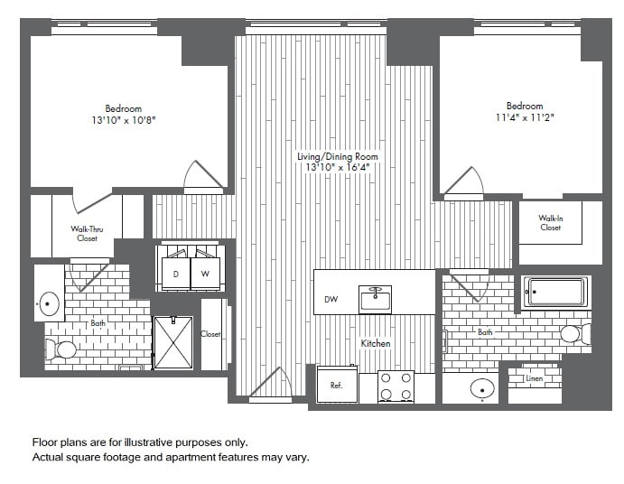 Floor Plan  B1 2 Bed 2 Bath Floor Plan at Waterside Place by Windsor, Boston, 02210, opens a dialog