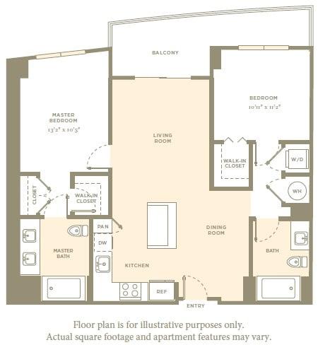 Floor Plan  B2 Floor Plan at Aaray Las Olas in Fort Lauderdale, FL, opens a dialog