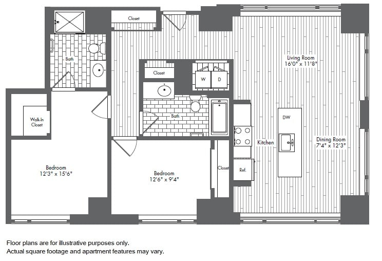 Floor Plan  B5 2 Bed 2 Bath Floor Plan at Waterside Place by Windsor, Massachusetts, 02210, opens a dialog