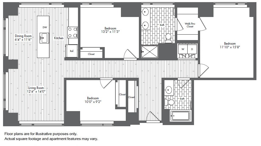 Floor Plan  C1 3 Bed 2 Bath Floor Plan at Waterside Place by Windsor, Boston, Massachusetts, opens a dialog