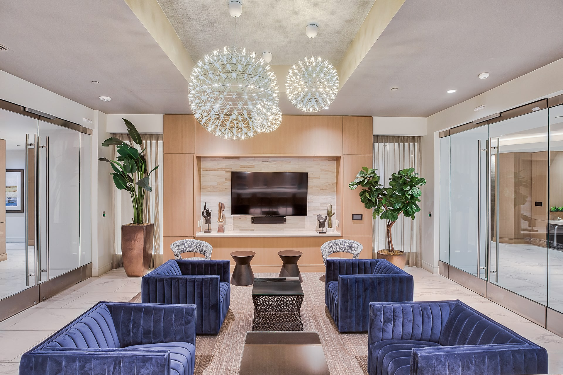 Resident lounge with seating at Olympic by Windsor, Los Angeles, CA
