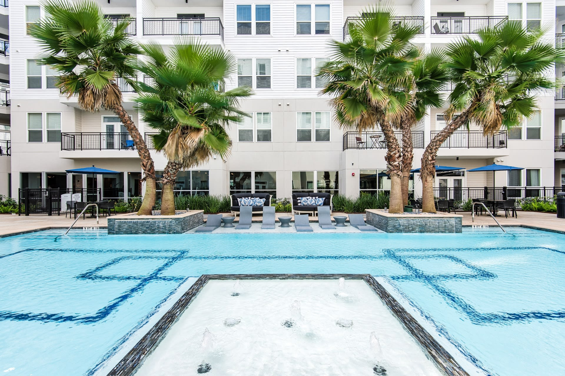 Resort style pool at Windsor Shepherd, Houston, Texas