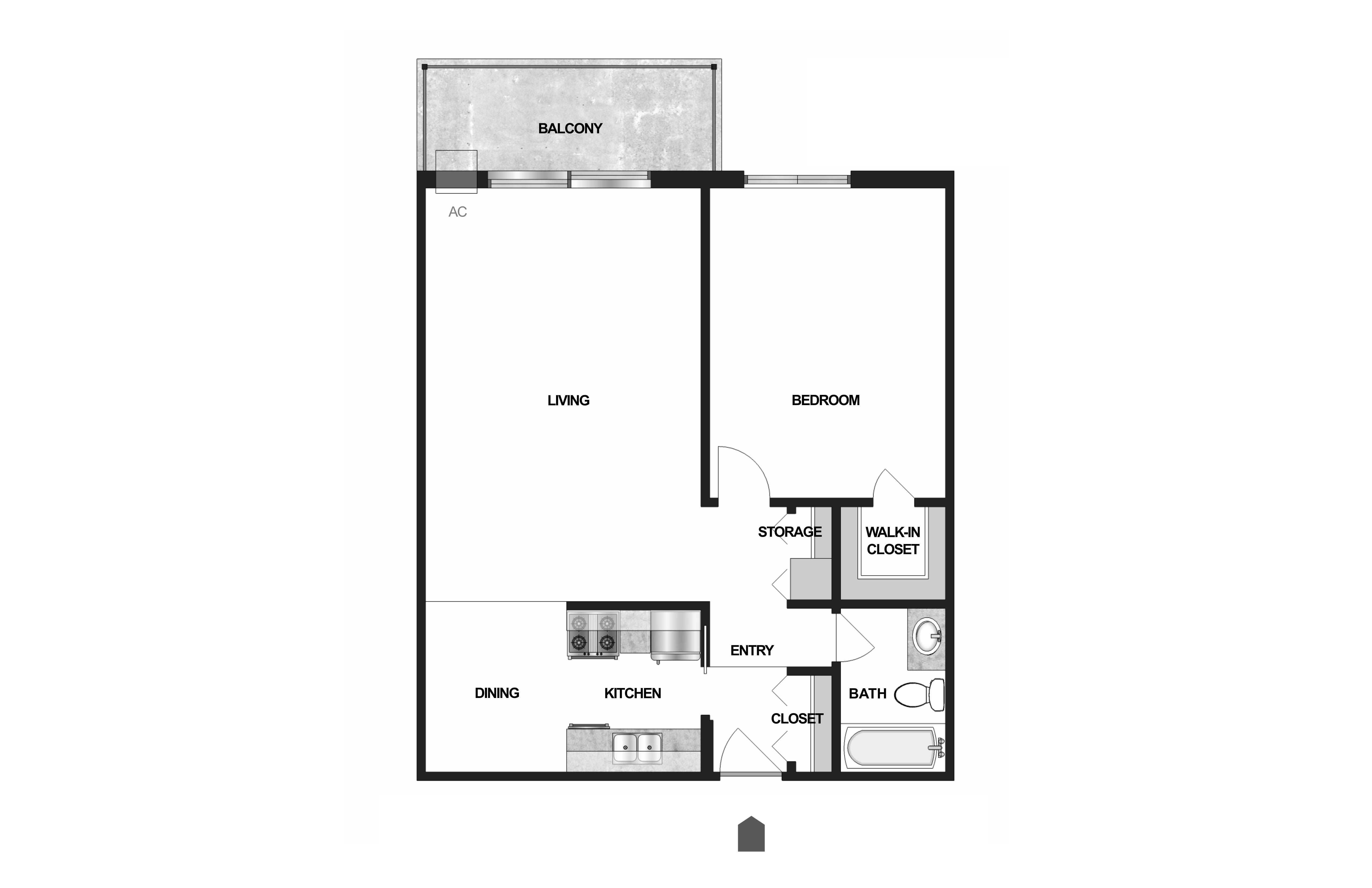 Floor Plan  Villages on McKnight Apartments in North St. Paul 1 Bedroom 1 Bath, opens a dialog