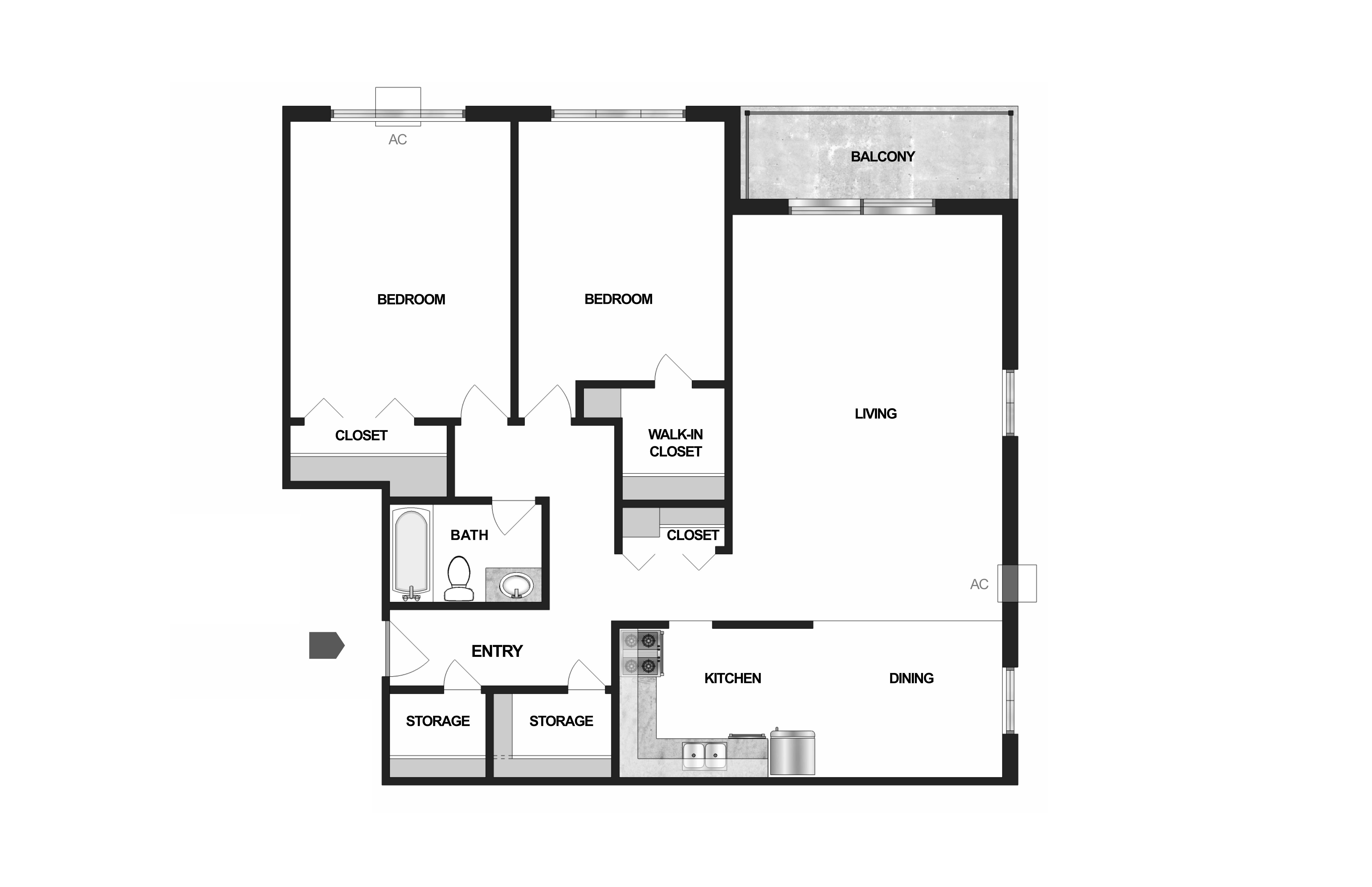 Floor Plan  Villages on McKnight Apartments in North St. Paul 2 Bedroom 1 Bath, opens a dialog