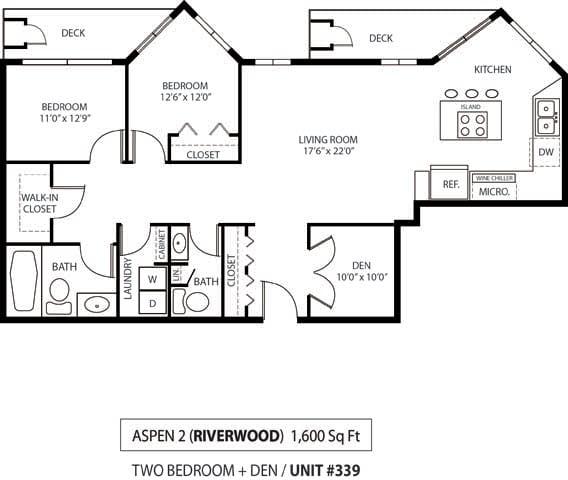 Floor Plan  The Riverwood Apartments in Lilydale, MN 2 Bedroom 2 Bath Plus Den, opens a dialog