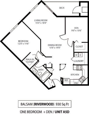 Floor Plan  The Riverwood Apartments in Lilydale, MN 1 Bedroom 1 Bath Plus Den, opens a dialog