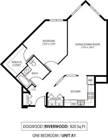 Floor Plan  The Riverwood Apartments in Lilydale, MN 1 Bedroom 1 Bath, opens a dialog