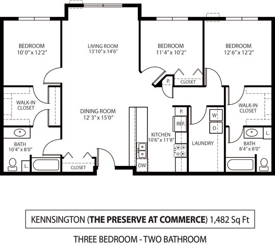 Floor Plan  The Preserve at Commerce Apartments in Rogers, MN 3 Bedroom 2 Bath