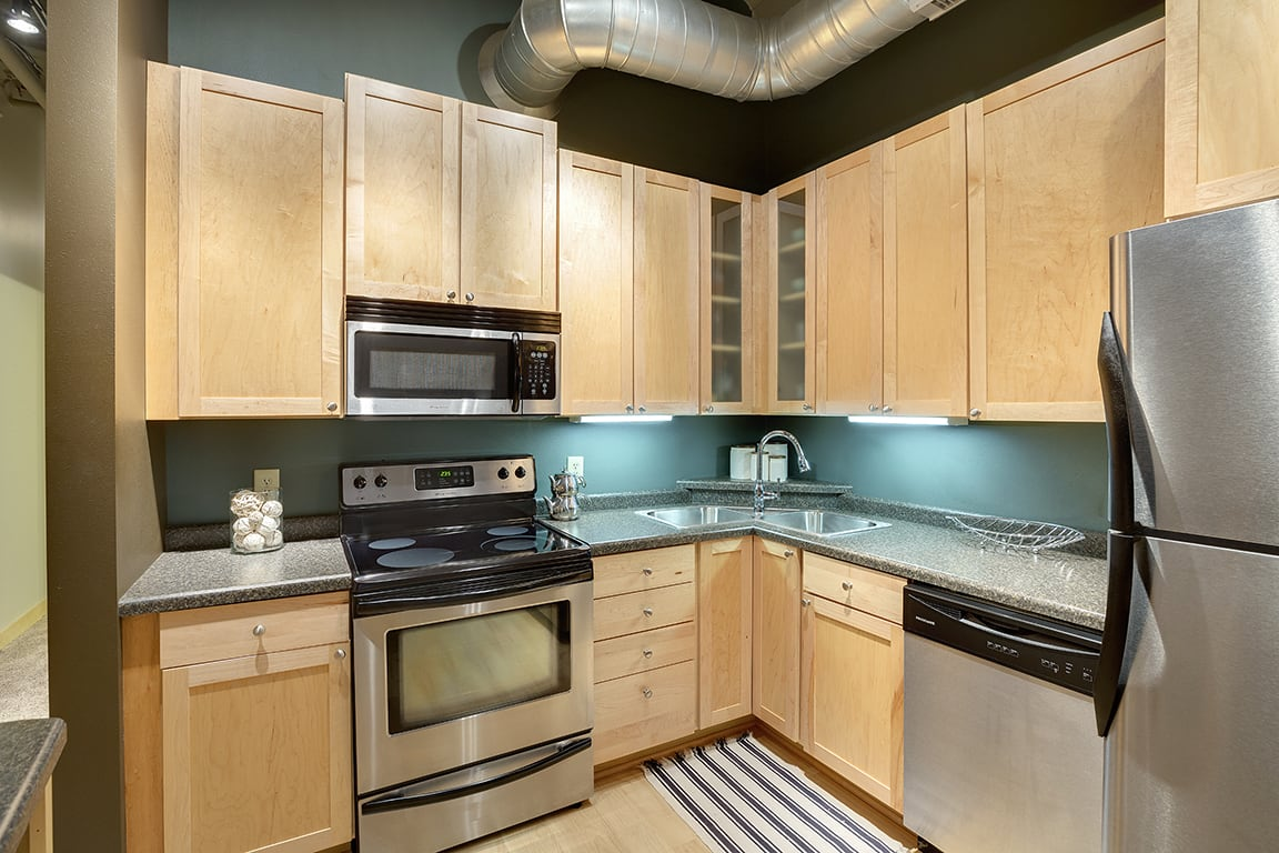 Lowertown Lofts Apartments in St. Paul, MN Stainless Steel Appliances Kitchen