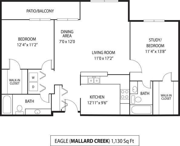 Floor Plan  Mallard Creek Apartments in Golden Valley, MN 2 Bedroom 2 Bathroom, opens a dialog
