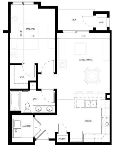 Floor Plan  Gabella at Parkside Apartments in Apple Valley, MN One Bedroom One Bath Floor Plan, opens a dialog