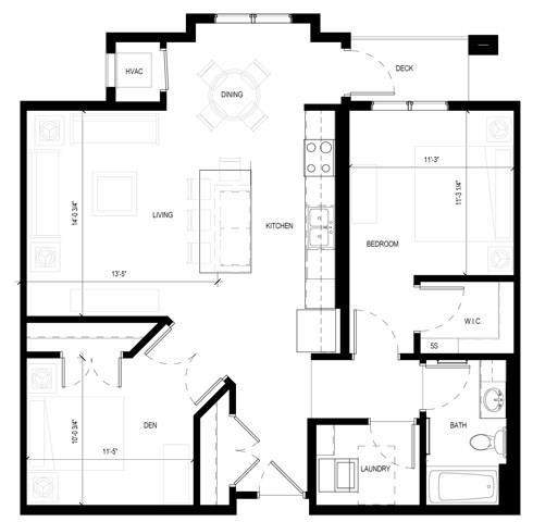 Floor Plan  Gabella at Parkside Apartments in Apple Valley, MN One Bedroom One Bath Plus Den Floor Plan, opens a dialog