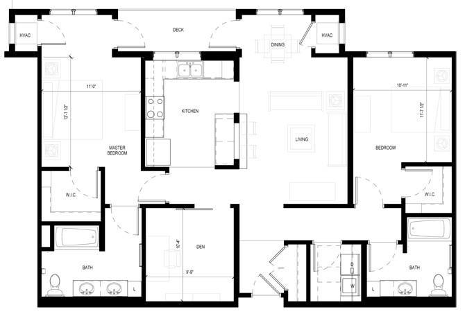 Floor Plan  Gabella at Parkside Apartments in Apple Valley, MN Two Bedroom Two Bathroom Plus Den Floor Plan, opens a dialog