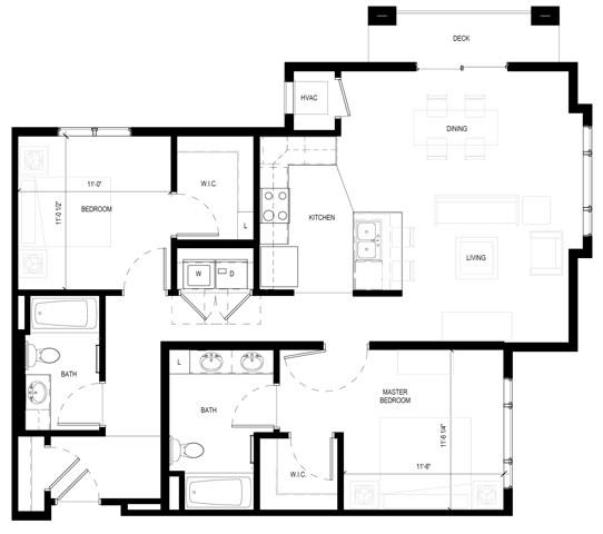 Floor Plan  Gabella at Parkside Apartments in Apple Valley, MN Two Bedroom Two Bathroom Floor Plan, opens a dialog