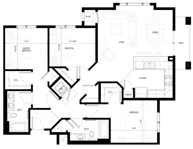 Floor Plan  Gabella at Parkside Apartments in Apple Valley, MN Three Bedroom Two Bathroom Floor Plan, opens a dialog