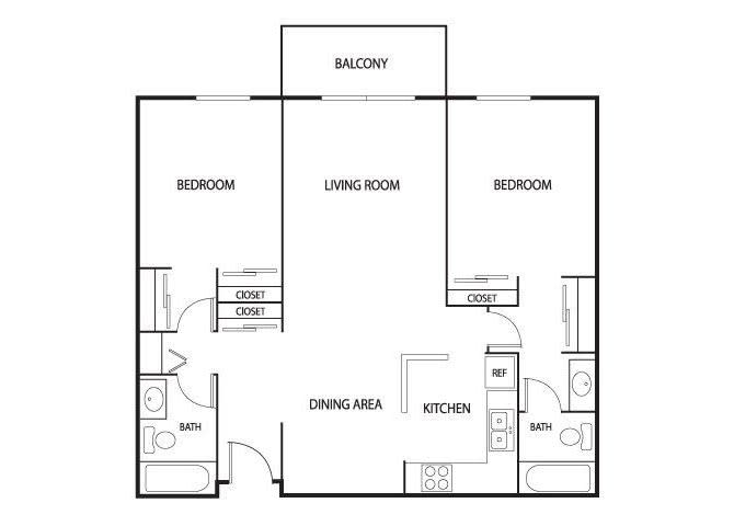 Floor Plan  Valley Pond Apartments in Apple Valley, MN 2 Bedroom 2 Bath, opens a dialog