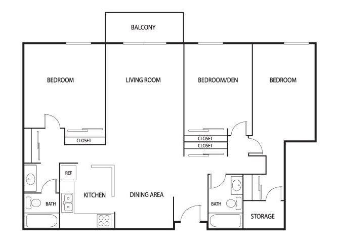 Floor Plan  Valley Pond Apartments in Apple Valley, MN 3 Bedroom 2 Bath, opens a dialog