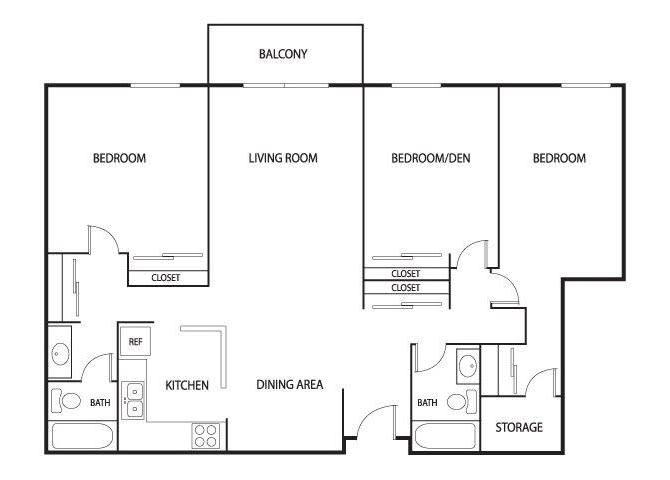 Floor Plan  Valley Pond Apartments in Apple Valley, MN 3 Bedroom 2 Bath