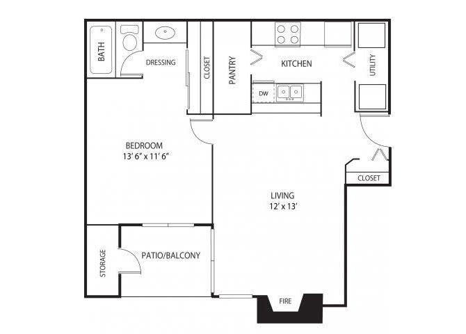 Floor Plan  Eden Commons Apartments in Eden Prairie, MN 1 Bedroom 1 Bath, opens a dialog