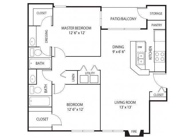 Floor Plan  Eden Commons Apartments in Eden Prairie, MN 2 Bedroom 2 Bath, opens a dialog