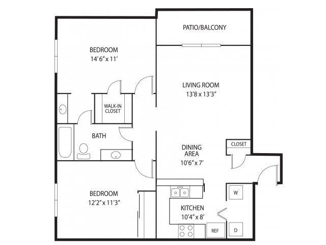 Floor Plan  Mallard Creek Apartments in Golden Valley, MN 2 Bedroom 1.25 Bathroom, opens a dialog