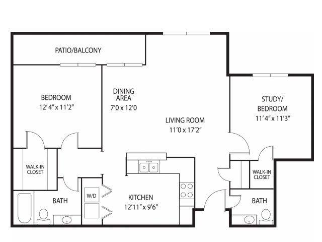 Floor Plan  Mallard Creek Apartments in Golden Valley, MN 2 Bedroom 1.5 Bath, opens a dialog