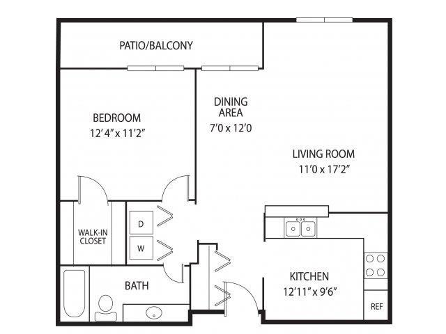 Floor Plan  Mallard Creek Apartments in Golden Valley, MN 1 Bedroom 1 Bathroom, opens a dialog