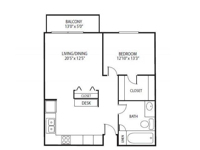 Floor Plan  Cedars Lakeside Apartments in Little Canada, MN 1 Bedroom Apartment Birch Floor Plan, opens a dialog