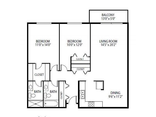 Floor Plan  Cedars Lakeside Apartments in Little Canada, MN 2 Bedroom Apartment Cedar Floor Plan, opens a dialog