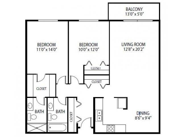 Floor Plan  Cedars Lakeside Apartments in Little Canada, MN 2 Bedroom Apartment Magnolia Floor Plan, opens a dialog