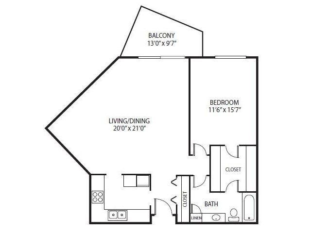 Floor Plan  Cedars Lakeside Apartments in Little Canada, MN 1 Bedroom Apartment Mahogany Floor Plan, opens a dialog