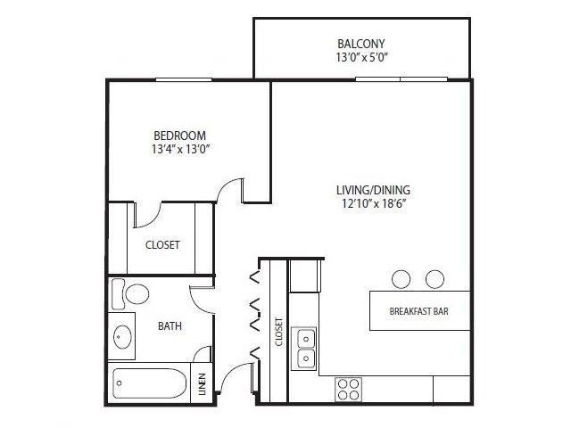 Floor Plan  Cedars Lakeside Apartments in Little Canada, MN 1 Bedroom Apartment Redwood Floor Plan, opens a dialog