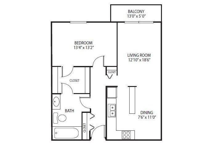 Floor Plan  Cedars Lakeside Apartments in Little Canada, MN 1 Bedroom Apartment Ridge Floor Plan, opens a dialog