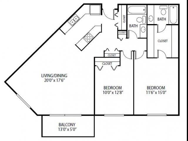 Floor Plan  Cedars Lakeside Apartments in Little Canada, MN 2 Bedroom Apartment Royal Oak Floor Plan, opens a dialog