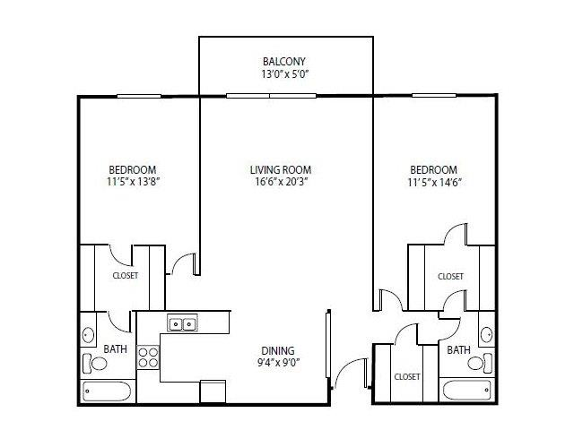 Floor Plan  Cedars Lakeside Apartments in Little Canada, MN 2 Bedroom Apartment Spruce Floor Plan, opens a dialog