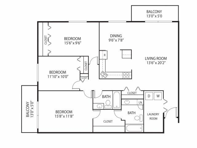 Floor Plan  Cedars Lakeside Apartments in Little Canada, MN 3 Bedroom Apartment Willow Floor Plan, opens a dialog