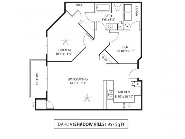Floor Plan  Shadow Hills Apartments in Plymouth, MN 1 Bedroom 1 Bath Plus Den, opens a dialog