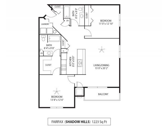 Floor Plan  Shadow Hills Apartments in Plymouth, MN 2 Bedroom 2 Bath, opens a dialog